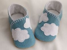Cloudy Baby Shoes/ baby boy felt shoes/ White clouds by