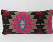 Kilim Pillow Lumbar pillow sham red pink black country decor patio cushion colorful pillow case unique pillow cover aztec pillow case 26935