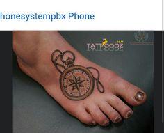 Steam punk style clock foot tattoo