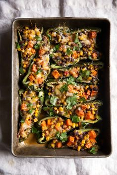 Stuffed Poblano Peppers with Black Bean, Corn & Sweet Potato | Ambitious Kitchen