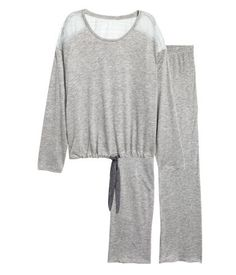 H&M Pajama Top and Pants $30 :: Pajama set in soft viscose jersey. Long-sleeved top with lace yoke. Drawstring at hem. Pants with elasticized waistband and straight legs.