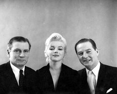 """Marilyn with Laurence Olivier and Terrence Rattigan in a publicity photo for """"The Prince and The Showgirl"""". Photo by Milton Greene, 1956."""