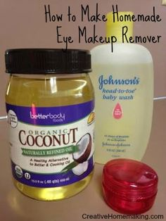 Easy homemade eye makeup remover made from coconut oil and baby shampoo. @sharonlhes