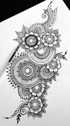 37 Ideas flowers tattoo men mandala is part of pencil-drawings - pencil-drawings Doodle Art Drawing, Zentangle Drawings, Mandala Drawing, Pencil Art Drawings, Art Drawings Sketches, Zentangles, Drawings Of Flowers, Mandala Sketch, Henna Drawings