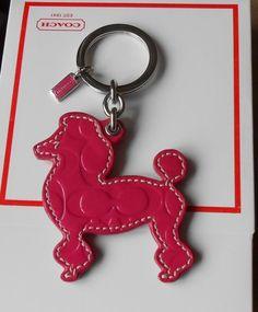 New Authentic Coach Pink Patent Leather Poodle Dog Key Chain .. on eBay #guysbizgiftworld
