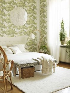 Choose a soothing green bedroom colour scheme - blend it with white, keep it fresh!