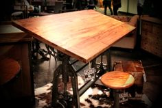 Love the drafting table. This would definitely be a center piece of the room for me. Would definitely accessorize with the vintage engineering tools shown here  on the board.