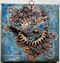 Amazing, the rust effect is superb! ML Design: Ink, Paint, Stamp & Paper Bliss: A Steampunk Canvas Chat Steampunk, Steampunk Cards, Altered Canvas, Altered Art, Altered Tins, Mixed Media Collage, Mixed Media Canvas, Mixed Media Techniques, Art Techniques