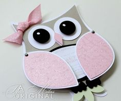 adorable shaped card ... luv it! ... cute lady owl ... machine cut ...