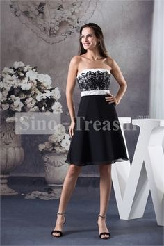 Short Chiffon/Satin/Lace Strapless A-line Cocktail Dress/Homecoming Dress -Wedding  homecoming dress -  #nightclub dress,  plus size prom dress  dresses for night club -  elegant prom gowns,  #outfit ideas