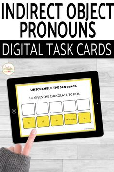 Have you tried BOOM Cards with your students? They're digital and self-checking, which means students get instant feedback, and you don't have to grade! They're self-grading! Your students can read, listen, and write to get practice! This set is perfect for your middle school and high school Spanish classes as they study indirect object pronouns! It's the perfect activity for homework, review, or even formative assessment! Click to see more and to try it out! Present Tense Verbs, Object Pronouns, Middle School Spanish, Spanish Lesson Plans, Spanish 1, Interactive Cards, Formative Assessment, Spanish Classroom, Class Activities