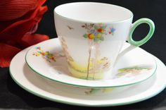 SHELLEY England Fine Bone China Art Deco Teacup Trio Balloons and Trees