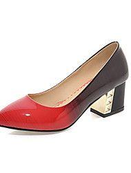 Chaussures Femme-Décontracté-Noir / Violet / Pêche-Gros Talon-Talons-Talons-Similicuir