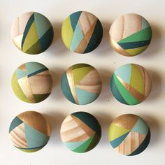 Hand painted wood knobs