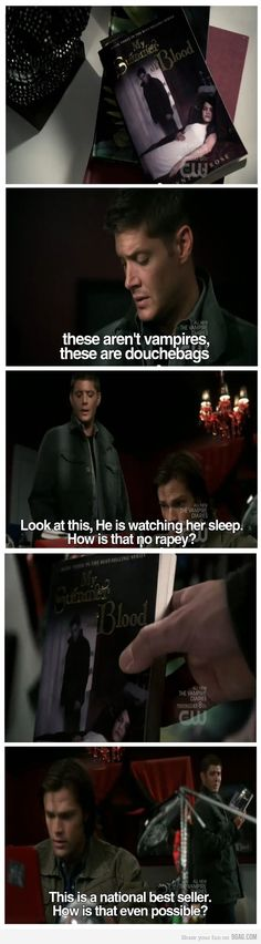 It is so rapey lol...I love this episode of Supernatural, even though they never really mention Twilight, they do mention Taylor Lautner thought, you can tell that's what they're making fun of and I love it!!!!!!!!!