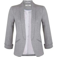 Miss Selfridge Petites Grey Ponte Blazer (110 BRL) ❤ liked on Polyvore featuring outerwear, jackets, blazers, tops, casacos, petite, silver grey, ponte blazer, gray blazer and blazer jacket