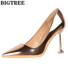 Brand Shoes Woman High Heels Pumps Golden High Heels 9.5CM Women Shoes High  Heels Wedding a7f817262df5