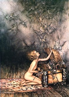 """""""Arthur Rackham is widely regarded as one of the leading illustrators from the 'Golden Age' of British book illustration which encompassed the years from 1900 until the start of the First World War.""""  Arthur Rackham's illustrations for the """"Green/Blue/Red"""" etc. Fairy Books. Between him and Ivan Bilibin, Art Nouveau is my preferred illustrative style for all works of the imagination :D"""