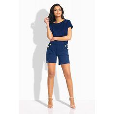 Salopeta de dama cu pantaloni scurti si buzunare laterale bleumarin Bermuda Shorts, Casual Shorts, Outfits, Women, Closet, Fashion, Colors, Moda, Suits