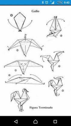 Origami Rooster, Origami Bird, Origami Animals, Origami And Kirigami, Origami Paper Art, Diy Paper, Oragami, Paper Crafts, Pliage Origami