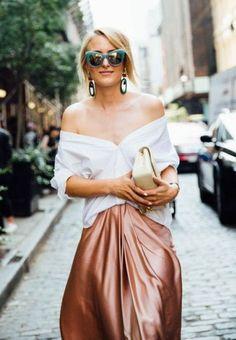 off shoulders shirt. silky skirt. street style.