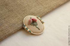 Купить Букетик роз - ручное украшение, оригинальное украшение, цветы, ботанический, иллюстрация, изысканный, винтажный