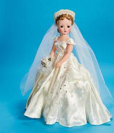 Beautiful 1955 Madame Alexander Cissy Bride in white brocade.