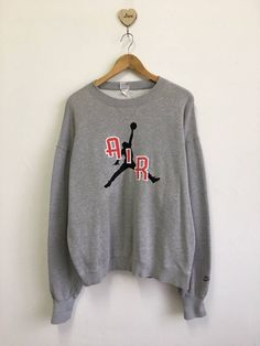 316b3a5b35ac Vintage 80s 90s NIKE AIR JORDAN Gray Sweatshirt Embroidered Logo Pullover  Jumper Streetwear Hiphop Baggy Style Size Xlarge