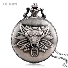 TIEDAN BRAND Top Selling The Witcher 3 Wild Hunt Game Theme Antique Bronze Pocket Watch for Unisex Gift with Necklace Fob Watch #Affiliate