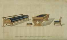 EKDuncan - My Fanciful Muse: Regency Furniture 1809 -1815: Ackermann's Repository Series 1 Vintage Furniture Design, Regency Furniture, Georgian Era, Regency Era, Miniature Houses, Muse, Sketch, Home Decor, Rooms