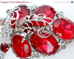 Big Sale Vintage Hobe Red Rhinestone Brooch Valentine's Day High End Pin Prong Set  Jewelry