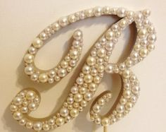 """Letter """"F"""" in lavender pearls. On large cardboard to go on Tree! LOVE it."""