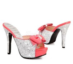 Open Toe Shimmering Powder Bowknot Stiletto Heel Sandals