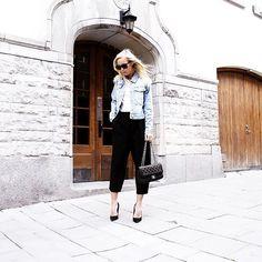 Victoria Törnegren shows how to dress up a denim jacket with culottes http://www.londonfittingrooms.com/le-boudoir/designer-denim-alterations-london