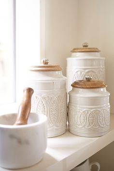 Ivory Farmhouse Canisters Whether you live in the city or in the country, our farmhouse-style canisters are the cream of the crop. Plant them on a countertop and reap the compliments. Each features a carved mango wood handled lid. Luxury Home Accessories, Decorative Accessories, Kitchen Accessories, Decorative Accents, Vintage Accessories, Vibeke Design, Home Design, Diy Design, Design Projects