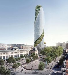 Occitanie Tower: high-rise premiere in Toulouse, France - THE Stylemate Architecture Résidentielle, Innovative Architecture, Futuristic Architecture, Sustainable Architecture, Amazing Architecture, Bungalow, Tower Design, Glass Facades, Unique Buildings