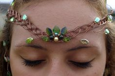 The Entwife's wirewrapped circlet with pinecones and chain in the back. --Shealynn's Faerie Shoppe