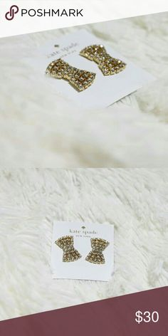 NWT KATE SPADE BOW EARRINGS New - authentic Kate Spade earrings with original tag Color: clear/gold No scratches Dust bag is included Bundle 2+ items to save your $$ on shipping 😜 Kate Spade Jewelry Earrings