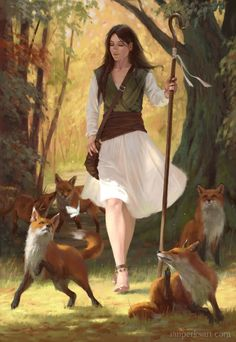 f Druid Staff Foxes deciduous forest hamlet RPG Female Character Portraits Fantasy Rpg, Medieval Fantasy, Fantasy Artwork, Fantasy World, Character Creation, Character Concept, Character Art, Concept Art, Character Ideas