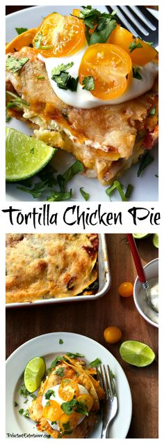 Tortilla Chicken Pie is a quick meal to make with a few pantry foods, and fresh ingredients such as tortillas, rotisserie chicken, and cheese