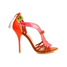 Sophia Webster Liberty patent-leather sandals (5 290 SEK) ❤ liked on Polyvore featuring shoes, sandals, pink multi, patent sandals, summer shoes, stilettos shoes, patent leather shoes and patent leather sandals