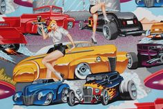 ALEXANDER HENRY, Phil's Drive-In, Rare Fabric, Carhops on Skates, Classic Hot Rods, PinUp Girls, Vivid Colors by CoolRiverQuilting on Etsy