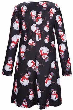 5b64f26b369d 2017 New Womens Ladies Long Sleeve Dresses Snowman Print Flare Christmas  Skater Swing Dress