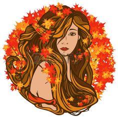 hermosa mujer con el pelo largo entre follaje brillante oto o estilo art nouveau vector retrato Foto de archivo