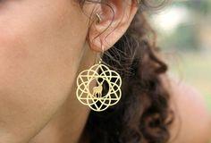Gold Flower Of Life Deer David Star Earrings by TzufitMoshel