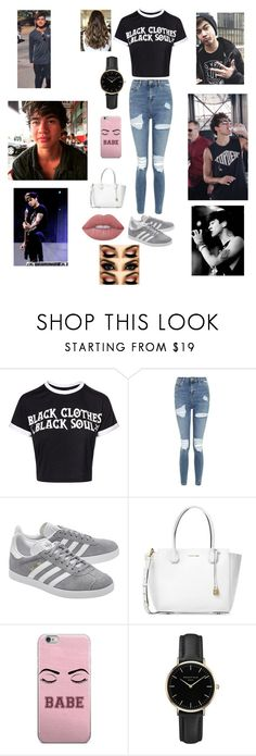 """""""out with your boyfriend calum hood❤"""" by briannacliffs ❤ liked on Polyvore featuring Topshop, adidas Originals, Michael Kors, ROSEFIELD and Lime Crime"""