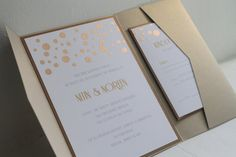 Glamourous Gold Confetti Custom Pocketfold Invitation Sets, Wedding Invitations, Etsy Weddings