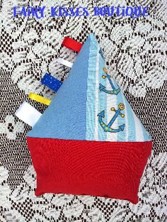 Sailboat Taggie Soft Toy - MADE TO ORDER  Customs can be made in a  variety of colours and prints, please contact us to discuss your requirements: www.facebook.com/FairyKissesB  Email: fairykissesorders@yahoo.com