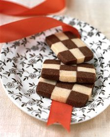 Though they look complicated, these tender cookies are easy to make if you use a ruler. To ensure an even design, measure the strips of dough carefully. The dough can be made a day or two in advance and refrigerated, or frozen for several weeks.