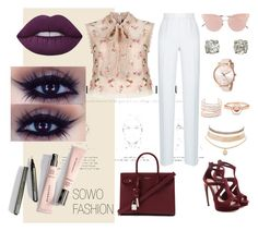 """Something Pink baby"" by sowos on Polyvore featuring Needle & Thread, Rasario, Alexander McQueen, Yves Saint Laurent, Alexis Bittar, Ted Baker, Marie Mas, Charlotte Russe, So.Ya and Lime Crime"